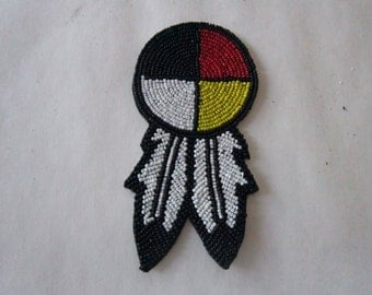 "3"" Glass Beaded Rosette  Medicine Wheel 4 Direction w/feathers Tribal Regalia Beadwork Craft"