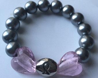 Heart Breast Cancer Bracelet