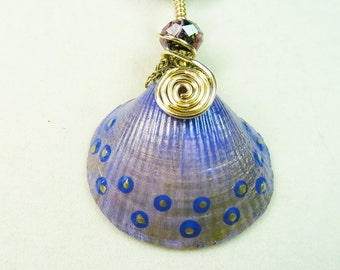 Painted Shell Necklace, Wire Wrapped Shell Necklace, Beaded Shell Necklace, Purple Shell Necklace