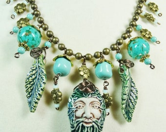 Woodland Necklace, Leaf Man Necklace, Turquoise and Green Necklace, Southwest Necklace