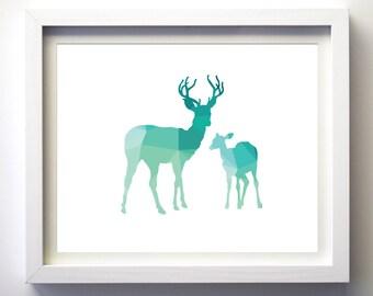 Teal and White Deer print geometric animal art turquoise aqua wall art deer baby nursery art modern nursery polygon animal art deer decor