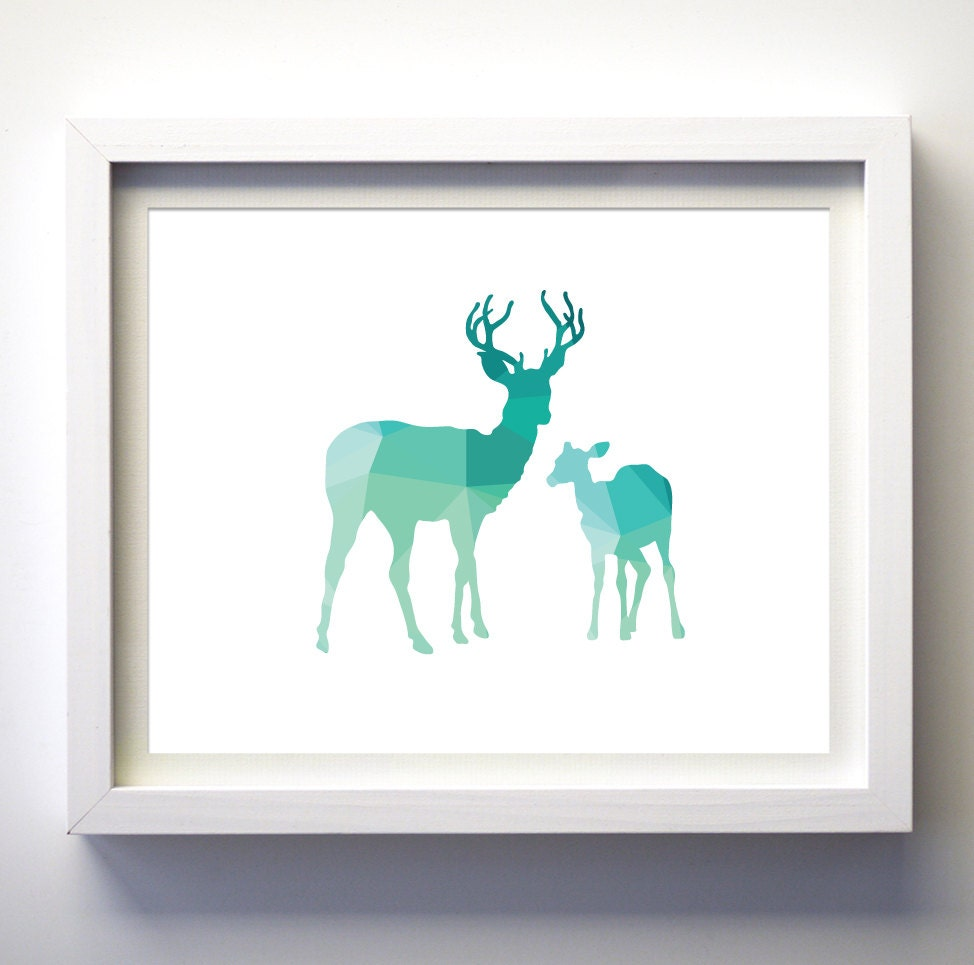 teal and white deer print geometric animal art turquoise aqua