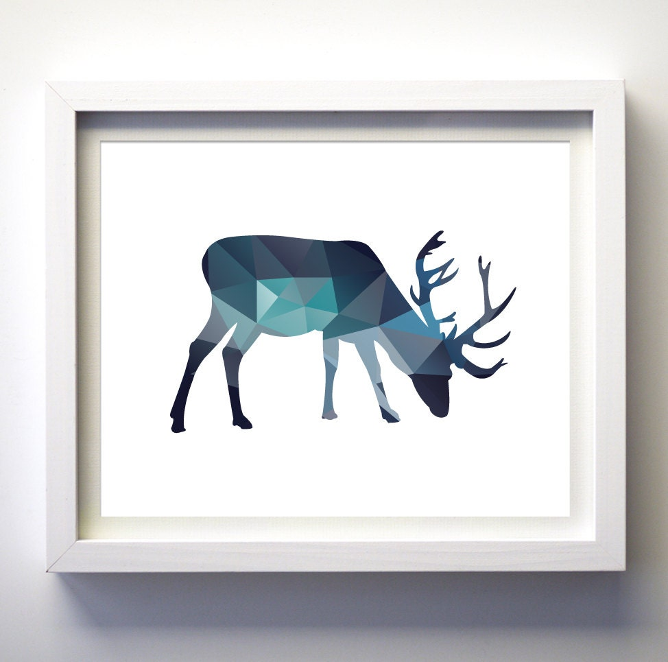 Teal navy blue aqua blue wall art moose print minimalist for Minimalist wall decor