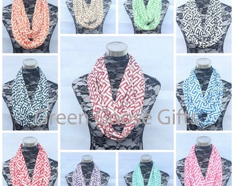 Monogrammed Greek Key Infinity Scarves - Bridesmaid Gift - Monogrammed Gift