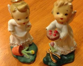 Vintage Angel Garden Figures Japen Woolworth Porcelain