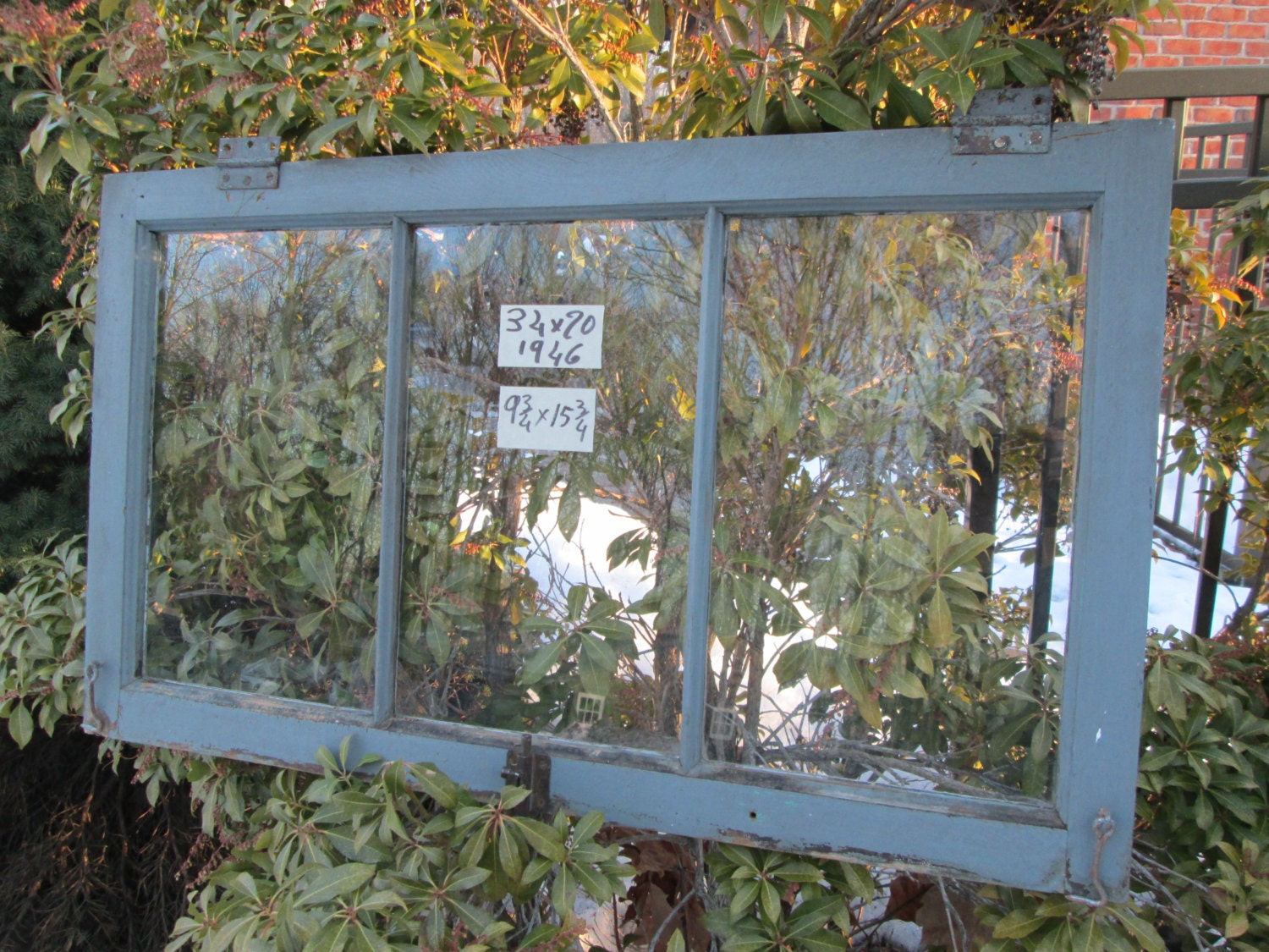 Vintage basement window sash old 3 pane 34 x 20 from 1946 for 2 pane window