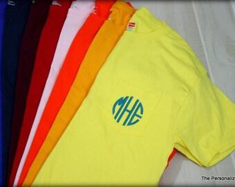 Monogrammed Pocket Short Sleeve T-Shirt - Personalized Tee Hanes T-Shirt