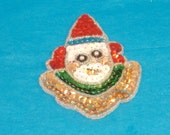 REDUCED Price - Vintage Red, Gold and Green Sequin Clown Applique - Embellishment, Accent, Scrapbooking, Cardmaking Bling - Destash