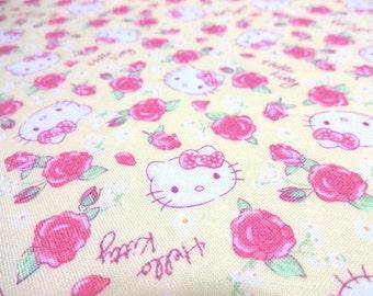 SALE Japanese Fabric KOKKA Hello Kitty Flower Rose Yellow FQ