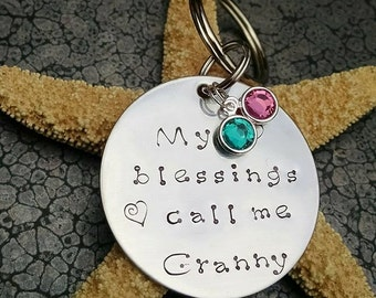 Mother's Day Gift Personalized Keychain My Blessings Call Me Granny Personalized Gift for Grandma