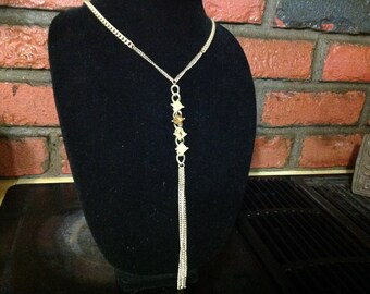 Vintage Goldtold Necklace With Tassels & Four Square Crystals