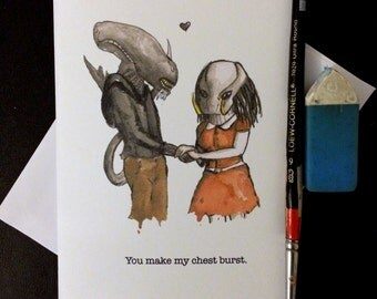 Valentine's Day Card Alien Loves Predator Blank Card / Archival 4x6 inch watercolor print / nerd geek girl guy dork