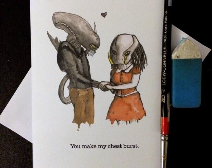 Valentine's Day Card Alien Loves Predator Blank Card / Archival 4x6 inch watercolor print / nerd geek girl guy dork