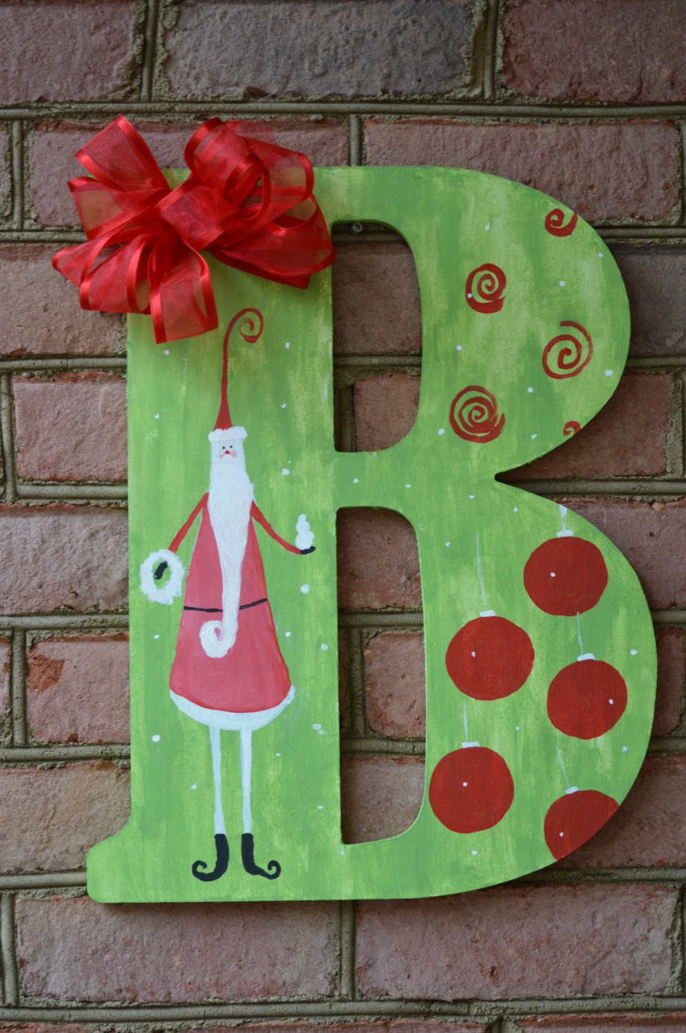 monogram letter painted monogram letter holiday wall decor