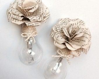 gorgeous OOAK upcycled lightbulb vase with handmade paper flowers
