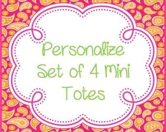 Personalize a Set of 4 Mini Totes (Purchase in Addition to Mini Tote Sets)