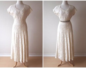 vintage 40s full LACE wedding gown