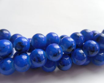 8mm Dark Blue Spotted Glass Bead Strand (15 inches)     -CB-2