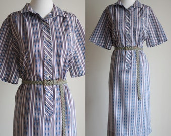 SALE: Vintage 70s Shirt Dress - Long White Striped Tribal Print Dress - Short Sleeve Aztec Ethnic Print Midi Dress - Size XL / Plus Size