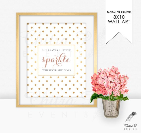 She leaves a little sparkle wall art printed or by chitrap - Sparkle wall decor ...