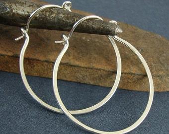 Sterling Silver Hoop Earrings, Handmade Earrings, Silver Earrings, Round Earring - Choose Size