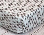 Fitted Crib Sheet, Modern Boy Crib Sheet, Gray and Light Blue Bedding