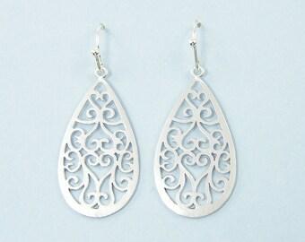 Silver Filigree Earrings, Silver Teardrop Earrings, Ornate Matte Silver Drop Earrings