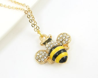 Bumble Bee Necklace Black Yellow Enamel Clear Rhinestone Bumblebee Pendant Necklace Enamel Insect Jewelry |NB2-20