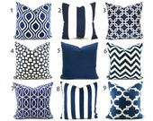 Pillow Covers ANY SIZE You Choose Decorative Pillow Cover Navy Blue Pillow Ikat Pillow Chevron Pillow Navy Blue and White