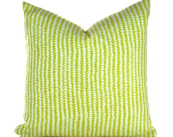 Indoor Outdoor Pillow Covers ANY SIZE Decorative Pillows Yellow Pillow P Kaufmann Outdoor Doodle Stripe Lime