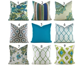 Pillow Covers ANY SIZE You Choose Decorative Pillow Cover Aqua Blue Pillow Turquoise Pillow