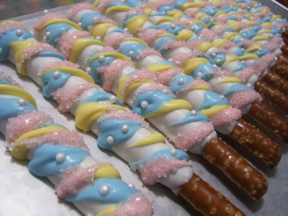 Chocolate Covered Pretzel Rods Baby Shower Favors By