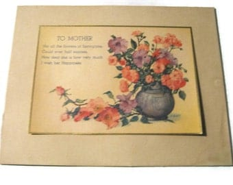 To Mother, poem card 1940s