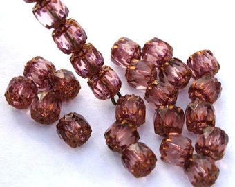 6 mm Rose Pink Czech Cathedral Barrel Beads with Gold Ends