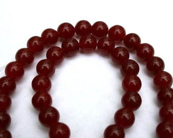 Full Strand of 6 mm Ruby Jade Round Beads