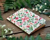 Notebook with flower watercolor illustration (small size)