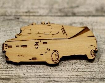 A-Team Van - GMD Van - A Team - The A Team - Engrabed Wood -Wood Key Ring - Fridge Magnet -Wood Brooch