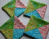 Folded Fabric Coasters ; Candle Mats ; Home Décor ; Mug Rugs ; Little Quilts ; Bright Coasters