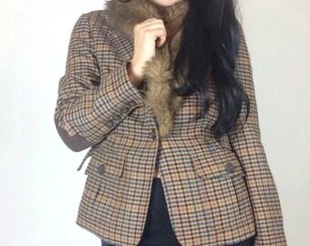 Vintage Houndstooth Faux Fur Blazer
