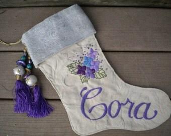 Handmade Christmas Stocking Embroidery Violets Purple Green Tassel Cora Shabby Chic Holiday Home Decor, Beth Baker Artist