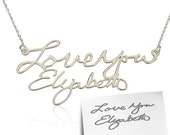 Signature Necklace - Handwriting Necklace , Silver Necklace , Name Necklace , Word Necklace , Nameplate Necklace