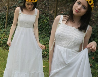 1970s White Hippie Peasant Maxi Dress (with small flowers on straps)