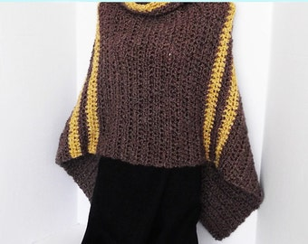 Cowl Neck Poncho Asymmetrical Thick & Warm Crochet Brown with Gold Stripes