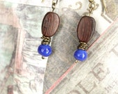 Recycled Earrings, Cobalt Blue Earrings, Blue Beads, Wood Jewelry, Glass Beads, Recycled Jewelry