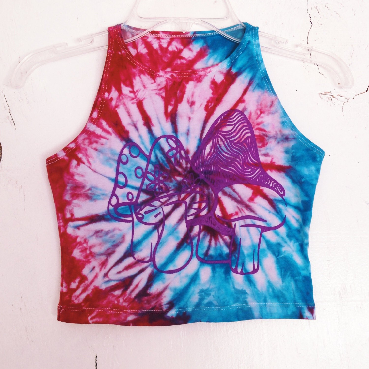 white and blue tie dye crop top print by