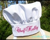 Name Personalized Chef Hat - Adult Size Adjustable Velcro Monogrammed Embroidered Custom Names Chef's Gift Ideas Unisex Womens Mens