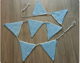 Knitted flags for baby-boys, garland, guirlande, bunting, banner