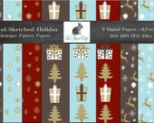 """Hand-Sketched Holiday Pattern Digital Papers - Photography Backgrounds - Scrapbook Paper - (12 """"x 12"""" 300 dpi ) Instant Download - 9 JPG"""