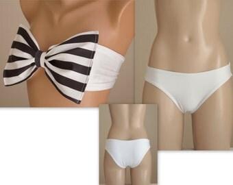 PADDED...Solid white stripe bow bandeau bikini top and matching full coverage bottoms-Swimwear-Swimsuit-Bathing suit-Bikini set-XS-S-M-L-XL