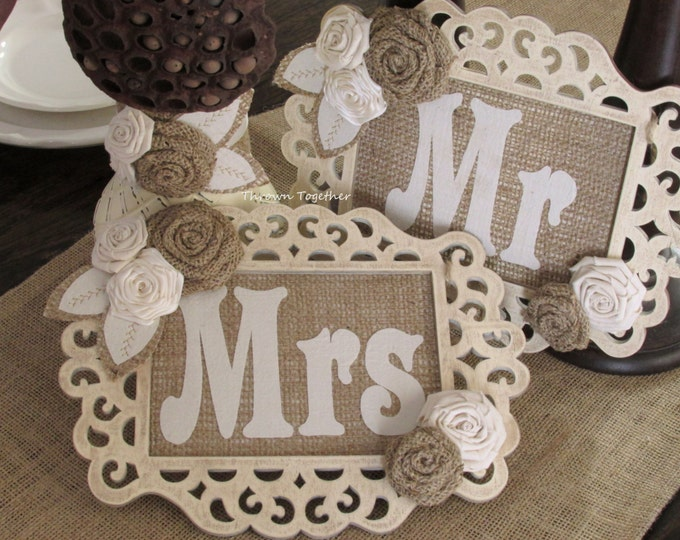 Mr & Mrs Chair Signs, Rustic Wedding Decoration, Bride and Groom Table Signs, Burlap Wedding Wood Signs